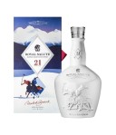 Royal Salute Snow Polo Bottle and gift box, shot straight on, on a white background